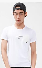 メンズ カジュアル/普段着 夏 Tシャツ,シンプル ラウンドネック ソリッド コットン 半袖 ミディアム