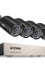 zosi®8-channel 1080n hd-TVI dvr bewakingscamera kit 4x 1280tvl binnen buiten ir waterdichte camera's