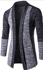 メンズ ストリートファッション お出かけ レギュラー カーディガン,カラーブロック Vネック 長袖 コットン 春 冬 ミディアム マイクロエラスティック