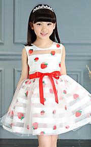 Mädchen Kleid einfarbig Gestreift Blumen Baumwolle Polyester Sommer Frühling Kurzarm