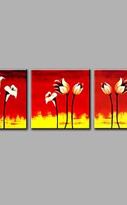手描きの 抽象画 花柄/植物の 四角形,Modern 3枚 キャンバス ハング塗装油絵 For ホームデコレーション