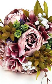 פרחי חתונה עגול ורדים זרים חתונה חתונה/ אירוע סאטן
