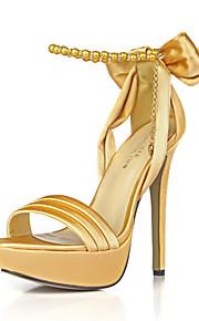 Sandales pour femmes club d'été chaussures soie mariage&Chaîne de bowknot de robe de soirée