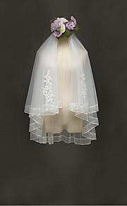 הינומות חתונה שתי שכבות צעיפי מרפק קצה סרט טול תחרה