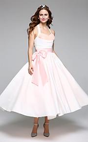 Trapèze Licou Longueur Genou Satin Tulle Robe de mariée avec Ceinture / Ruban Noeud par LAN TING BRIDE®