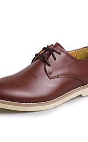 Homme-Mariage Extérieure Soirée & Evénement Décontracté-Noir Café Bourgogne-Talon Plat-Confort chaussures Bullock-Oxfords-Cuir