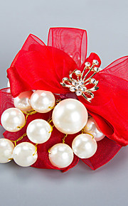 Wedding Flowers Free-form Roses Wrist Corsages Wedding Party/ Evening Red Satin Bead