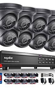 Sannce® 16ch onvif understøttet 1080p hd dvr hjem overvågningssikkerhed cctv system med nattesyn monitor vandtæt 1tb