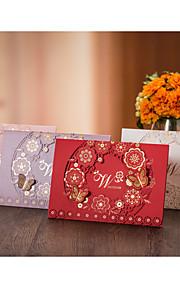 Personalisert Topp Fold Bryllupsinvitasjoner Invitasjonskort-50 Stykke/Sett Blomsterstil Sommerfugl StilHøykvalitets Papir Kartong Kort