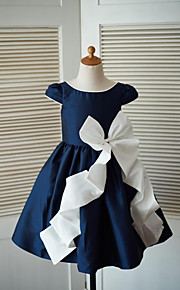 Trapèze Mi-long Robe de Demoiselle d'Honneur Fille - Taffetas Décolleté avec Noeud(s)