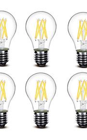 4.5W E27 Ampoules à Filament LED A60(A19) 6 COB 500 lm Blanc Chaud Décorative AC220 AC230 AC240 V 6 pièces