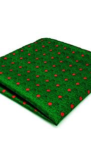 CH5 New Mens Pocket Square Hanky Green Dots 100% Silk Business Dress Jacquard Woven Unique