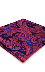 CH12 Mens Classic Pocket Square Hanky Blue Red Paisley 100% Silk Dress Casual Fashion Unique