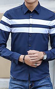 Heren Eenvoudig T-shirt,Casual/Dagelijks Print V-hals Lange mouw Katoen