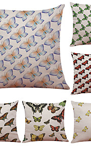 Set of 6 Printed Hand Painted Butterfly Pattern Linen Pillowcase Sofa Home Decor Cushion Cover  Throw Pillow Case (18*18inch)