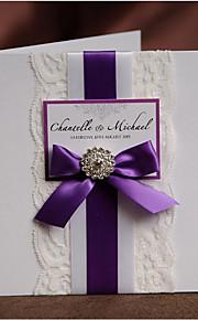 Personalisert Side Fold Bryllupsinvitasjoner Invitasjonskort-50 Stykke/Sett Moderne Stil Perlepapir