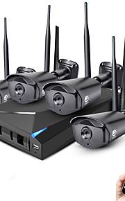 Jooan® 4ch 960p inalámbrico nvr kit de sistema de cámara de seguridad 4 * 1.3mp al aire libre ir cámara de visión nocturna wifi ip