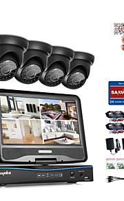 Sannce® 8ch 4pcs 720p vejrbestandigt overvågningssikkerhedssystem 4in1 1080p lcd dvr monitor understøttet tvi analog ahd