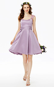 Princess Straps Short / Mini Lace Satin Bridesmaid Dress with Buttons Lace Sash / Ribbon Pleats Ruching by LAN TING BRIDE®