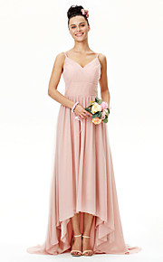 A-Line Spaghetti Straps Asymmetrical Chiffon Tulle Bridesmaid Dress with Sash / Ribbon Ruching Pleats Criss Cross by LAN TING BRIDE®