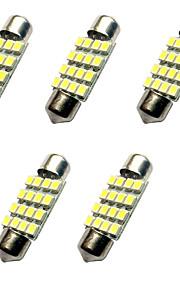 5pcs verduisterde led lichten 36mm 1.5w 16smd 3528 chip 80-100lm wit 6500-7000k dc12v leeslamp nummerplaat lichten