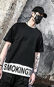 남성 문자 라운드 넥 짧은 소매 티셔츠,스트리트 쉬크 캐쥬얼 면 여름