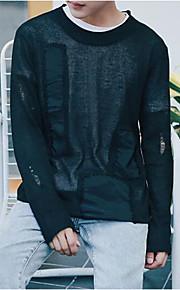 남성 보통 풀오버 캐쥬얼 솔리드,라운드 넥 긴 소매 면 봄 얇음 약간의 신축성
