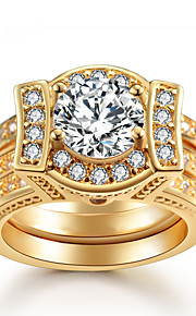 Women's Ring AAA Cubic Zirconia Luxury Elegant Double-layer Platinum Plated Gold Plated Ring Jewelry For Wedding Party Engagement
