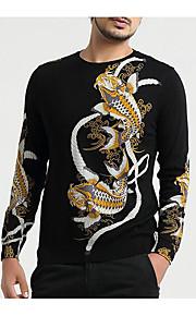 남성 보통 풀오버 캐쥬얼 프린트,라운드 넥 긴 소매 58 % Wool42 % 비스코스 가을 중간 약간의 신축성
