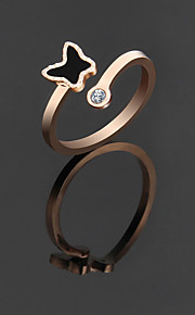 Women's Cuff Ring Cute Elegant Rose Gold Titanium Steel Bowknot Ring Jewelry For Wedding Anniversary Party/Evening Engagement Daily