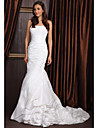 Lan Ting Sheath/Column Wedding Dress - Ivory Sweep/Brush Train Strapless Taffeta