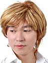 capless kurzen hochwertigen synthetischen blonde Haare Peruecke gerade Maenner 0463-460