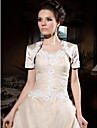 Short Sleeve Satin Applique Bridal Jacket/ Wedding Wrap