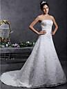 Lanting Bride® A-linje / Prinsesse Petit / Plus Størrelser Brudekjole - Klassisk og tidsløs / Elegant og luksuriøs Blonde Looks Hofslæb