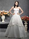 O linie printesa spaghete curele podea lungime satin tul de nunta rochie de lan ting bride®