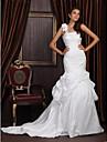 Lanting Trumpet/Mermaid One Shoulder Chapel Train Satin Taffeta Wedding Dress With 3D Floral