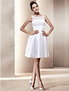 Lan Ting A-line/Princess Plus Sizes Wedding Dress - Ivory Short/Mini Scoop Taffeta/Lace
