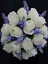 """Flori de Nuntă Rotund Trandafiri Buchete Nuntă Petrecere / Seară Satin Alb 9.84""""(Approx.25cm)"""