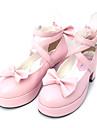 Sweet Lolita Skor Svart / Rosa Polyuretan Läder lolita tillbehör