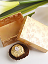 Square Damask Print Favor Box In Gold (Set of 12)