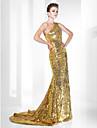 Trompetă / Sirenă Pe Umăr Mătura / Trenă Paiete Seară Formală Rochie cu Paiete de TS Couture®