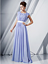 Formal Evening / Military Ball Dress - Lavender Plus Sizes / Petite A-line / Princess Scoop Floor-length Chiffon