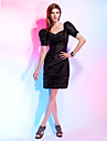 Cocktail Party Dress - Black Plus Sizes / Petite Sheath/Column V-neck Knee-length Taffeta
