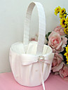 Flower Basket In Ivory Satin And Organza With Bow And Faux Peal