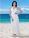 Lanting Bride® Sheath / Column Petite / Plus Sizes Wedding Dress - Chic & Modern / Reception Little White Dresses Floor-length V-neck