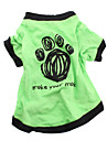 Dog Shirt / T-Shirt Green Spring/Fall Animal