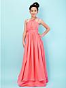 Lanting Bride Floor-length Chiffon / Satin Junior Bridesmaid Dress A-line / Princess Halter / Spaghetti Straps withDraping / Sash /