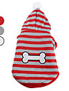 Dog Hoodie / Clothes/Clothing Red / White / Gray Spring/Fall Stripe