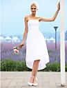 Hochzeitskleid - Elfenbein Taft - A-Linie/Prinzessinnen-Linie - Asymmetrisch - Traegerlos