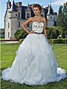 LAN TING BRIDE Da ballo Vestito da sposa - Classico Look luminoso e scintillante Strascico da cattedrale A cuore Organza Raso conPerline